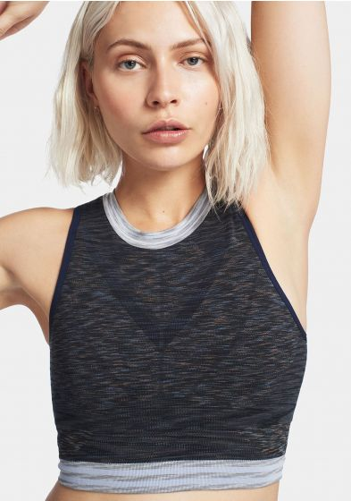 Grey space crop top for women